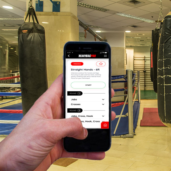 heavy bag app in a gym