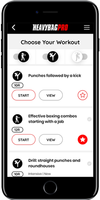 Choose boxing workout screen